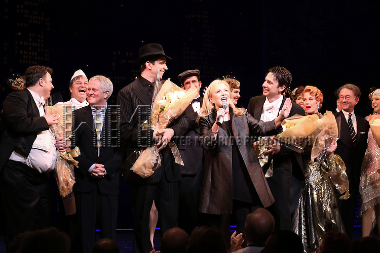 """Director Susan Stroman and Company during the Broadway Opening Night Performance Curtain Call for ''Bullets Over Broadway'""""at the St. James Theatre on April 10, 2014 in New York City."""