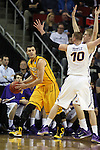 Northern Iowa Seth Tuttle and Nate Buss guards Wyoming's larry Nance (22) 2015 NCAA Division I Men's Basketball Championship March 20, 2015 at the Key Arena in Seattle, Washington.    Northern Iowa beat Wyoming 71 to 54.   ©2015.  Jim Bryant Photo. All Rights Reserved.