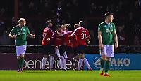 York City's Vadaine Oliver celebrates scoring his sides equalising goal to make the score 1-1 with team-mates<br /> <br /> Photographer Andrew Vaughan/CameraSport<br /> <br /> The Buildbase FA Trophy Semi-Final First Leg - York City v Lincoln City - Tuesday 14th March 2017 - Bootham Crescent - York<br />  <br /> World Copyright &copy; 2017 CameraSport. All rights reserved. 43 Linden Ave. Countesthorpe. Leicester. England. LE8 5PG - Tel: +44 (0) 116 277 4147 - admin@camerasport.com - www.camerasport.com