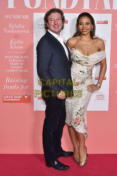 Ceawlin Thynn, Viscount Weymouth and Viscountess of Weymouth, Emma McQuiston<br /> arrivals at London's Fabulous Fund Fair 2016 in aid of the Naked Heart Foundation at Old Billingsgate Market on 20th February 2016.<br /> CAP/PL<br /> &copy;Phil Loftus/Capital Pictures