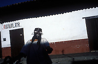 Judas asking for money onthe road from Eronga.  Jesus´crucifiction is re-enacted for holy week (Semana Santa) in Erongaricuaro, Michoacan, Mexico