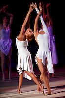 "(L-R) Natalya Godunko and Anna Bessonova of Ukraine perform during gala at 2008 World Cup Kiev, ""Deriugina Cup"" in Kiev, Ukraine on March 23, 2008."