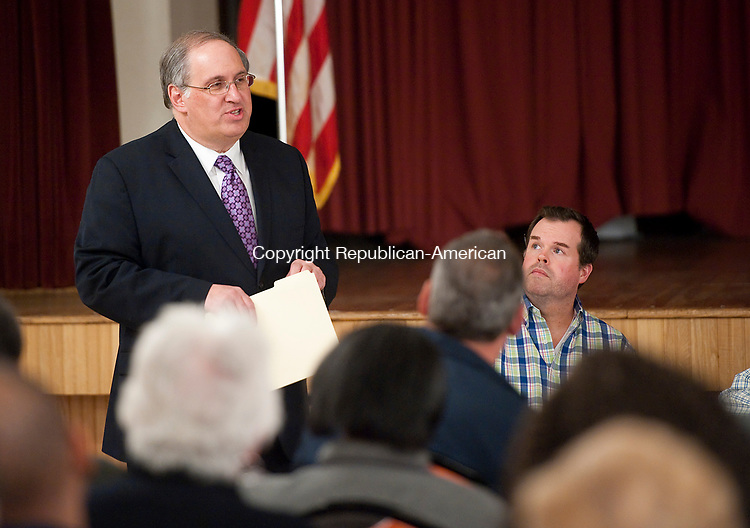 WATERBURY, CT-051017JS09- Former Wterbury Mayor Michael J. Jarjura, makes his pitch to members of the during the Democratic Town Committee during their meeting Wednesday at the Waterbury Portuguese Club. Jarjura and Matthew P. Vaccarelli are both looking for the party's endorsement for probate judge. <br /> Jim Shannon Republican-American