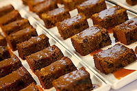 Tasty rich fruit cakes with fudge sauce