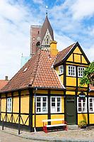 Stoppestedet shop from Sonderportsgade Street in medieval Ribe centre in South Jutland, Denmark