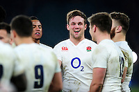 Jack Clifford of England is all smiles after the match. RBS Six Nations match between England and Wales on March 12, 2016 at Twickenham Stadium in London, England. Photo by: Patrick Khachfe / Onside Images