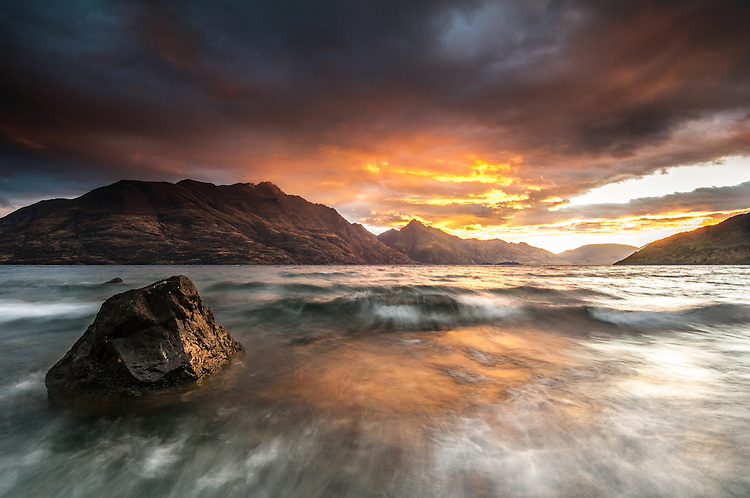 Lake Wakatipu sunrise Walter and Cecil Peaks, Queenstown, South Island, New Zealand - stock photo, canvas, fine art print