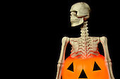 Stock photo of skeleton popping out of a pumpkin