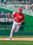 23 August 2015: Washington Nationals infielder Anthony Rendon rounds third after hitting a 2-run homer in the 5th inning against the Milwaukee Brewers at Nationals Park in Washington, DC. The Nationals defeated the Brewers 9-5 in the third game of their 3-game weekend series. Mandatory Credit: Ed Wolfstein Photo *** RAW (NEF) Image File Available ***