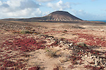 View of Mountana Roja, Nr Corralejo, Fuerteventura, Canary Islands, Spain