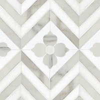 Maharaja 2, a natural stone waterjet mosaic shown in Thassos and honed Calacatta Tia, is part of the Silk Road Collection by Sara Baldwin for New Ravenna Mosaics. <br />