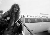 IRON MAIDEN - Steve Harris - arrival at Okecie Airport at the start of the World Slavery Tour in Warsaw Poland - August 1984.  Photo credit: George Bodnar Archive/IconicPix
