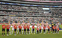 USMNT during the American national anthem prior to the match against Honduras on July 24, 2013 at Dallas Cowboys Stadium in Arlington, TX.
