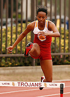 Dalilah Muhammad finished 2nd. in the 400m hurdles with a time of 59.01sec. at the USC Trojan Invitational held at Loker Stadium/Cromwell Field on Saturday, March 21, 2009. Photo by Errol Anderson, The Sporting Image.net
