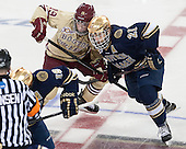 Ryan Fitzgerald (BC - 19), Bryan Rust (ND - 21) - The Boston College Eagles defeated the visiting University of Notre Dame Fighting Irish 4-2 to tie their Hockey East quarterfinal matchup at one game each on Saturday, March 15, 2014, at Kelley Rink in Conte Forum in Chestnut Hill, Massachusetts.