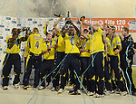 Hampshire's Captain  Dimitri Mascarenhas lifts the Trophy and celebrates  winning the Friends life T20 Final against Yorkshire<br /> <br /> Cricket - T20  Final - Yorkshire v Hampshire - Swalec Stadium - Cardiff - Wales - UK