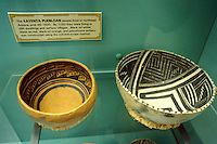 Anasazi polychrome bowls in the museum at Mesa Verde National Park, Colorado, U.S.A.