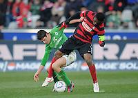 FUSSBALL   1. BUNDESLIGA   SAISON 2011/2012    20. SPIELTAG  05.02.2012 SC Freiburg - SV Werder Bremen Zlatko Junuzovic (li, SV Werder Bremen) gegen Cedric Makiadi (SC Freiburg)