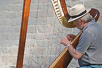 Belgium, Bruges, Man playing harp, seated