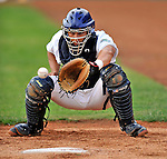 19 June 2008: Vermont Lake Monsters catcher Chris Solis warms up in the bullpen prior to a game against the Oneonta Tigers at historic Centennial Field in Burlington, Vermont. The Tigers defeated the Lake Monsters 13-8 in the rubber match of their three-game season opening series in Vermont...Mandatory Credit: Ed Wolfstein Photo