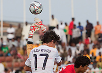 William Packwood goes up to head the ball over the goalkeeper. US Under-17 Men's National Team defeated United Arab Emirates 1-0 at Gateway International  Stadium in Ijebu-Ode, Nigeria on November 1, 2009.