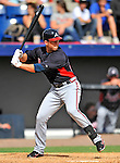 6 March 2011: Atlanta Braves' infielder Brandon Hicks in action during a Spring Training game against the Washington Nationals at Space Coast Stadium in Viera, Florida. The Braves shut out the Nationals 5-0 in Grapefruit League action. Mandatory Credit: Ed Wolfstein Photo