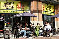 People eating outdoors at Salsa and Agave Mexican restaurant in Yaletown, Vancouver, British Columbia, Canada