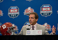 Alabama Head Coach Nick Saban talks with the reporters during BCS National Championship Head Coaches Press Conference at Marriott Hotel at the Convention Center on January 8th, 2012.