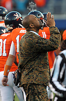 CHARLOTTESVILLE, VA- NOVEMBER 12: Head coach Mike London of the Virginia Cavaliers signals to the sky during the game against the Duke Blue Devils on November 12, 2011 at Scott Stadium in Charlottesville, Virginia. Virginia defeated Duke 31-21. (Photo by Andrew Shurtleff/Getty Images) *** Local Caption *** Mike London