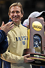 Dec. 5, 2010;  Women's Soccer head coach Randy Waldrum holds the National Championship trophy during a welcome home rally at the Purcell Pavilion.  ..Photo by Matt Cashore/University of Notre Dame