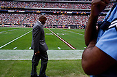 Houston, Texas<br /> October 2, 2011<br /> <br /> General manager and first as executive vice president, Rick Smith (grey jacket) watches from the sidelines as the game is played. <br /> <br /> The Houston Texans defeated the Pittsburgh Steelers at the Reliant Stadium 17 to 10.