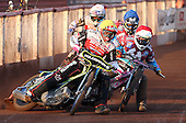 Heat 7: Troy Batchelor (yellow), Robert Mear (red), Richie Worrall (blue) and Nick Morris (white) - Lakeside Hammers vs Swindon Robins at the Arena Essex Raceway, Pufleet - 18/06/12 - MANDATORY CREDIT: Rob Newell/TGSPHOTO - Self billing applies where appropriate - 0845 094 6026 - contact@tgsphoto.co.uk - NO UNPAID USE..