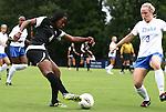 18 September 2011: Florida State's Jamia Fields (4) and Duke's Libby Jandl (3). The Duke University Blue Devils defeated the Florida State University Seminoles 2-1 at Koskinen Stadium in Durham, North Carolina in an NCAA Division I Women's Soccer game.