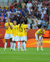 Players of Brazil reacts after the FIFA Women's World Cup at the FIFA Stadium in Dresden, Germany on July 10th, 2011.