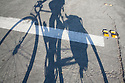 Bicyclist's long shadow falling on road. The cyclists is carrying gear in panniers next to the rear wheel.
