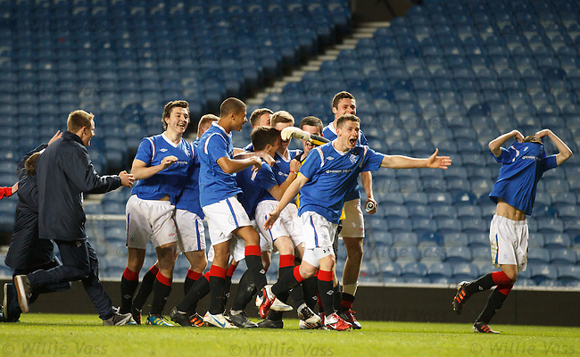 Rangers players celebrate winning the penalty shootout over Celtic