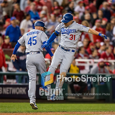 13 October 2016: Los Angeles Dodgers outfielder Joc Pederson in action during the NLDS Game 5 against the Washington Nationals at Nationals Park in Washington, DC. The Dodgers edged out the Nationals 4-3, to take Game 5, and the Series, 3 games to 2, moving on to the National League Championship against the Chicago Cubs. Mandatory Credit: Ed Wolfstein Photo *** RAW (NEF) Image File Available ***