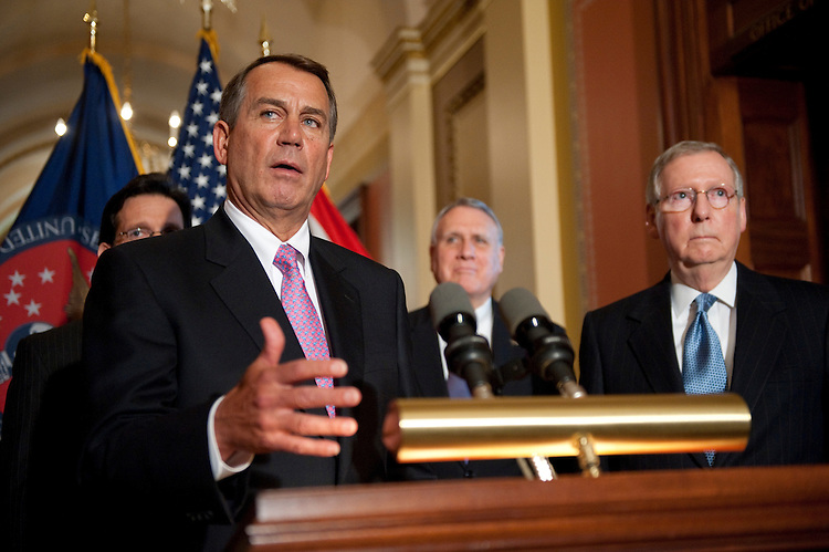 WASHINGTON, DC - April 13: House Majority Leader Eric Cantor, R-Va., House Speaker John A. Boehner, R-Ohio, Senate Minority Whip Jon Kyl, R-Ariz., and Senate Minority Leader Mitch McConnell, R-Ky., during a news conference outside the Speaker's office on the 2012 budget. (Photo by Scott J. Ferrell/Congressional Quarterly)