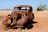 Vintage cars rust in the desert near the Stuart Highway, Northern Territory, Australia