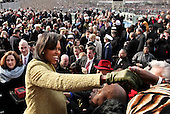 Washington, DC - January 20, 2009 -- First lady Michelle Obama reaches out to guests after her husband, President Barack obama was  sworn-in as the 44th president of the United States and the first African-American to lead the nation, at the Capitol in Washington, Tuesday, January 20, 2009..Credit: J. Scott Applewhite - Pool via CNP