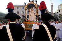 "Roma 17 Luglio 2010.Venerabile Arciconfraternita  del SS.mo Sacramento e di Maria Ss. del Carmine in Trastevere a Roma fondata nell' anno 1539. I Solenni Festeggiamenti e la processione in onore della.Madonna del Carmine detta ""de' Noantri"". .The Solemn Celebrations and processions in honor of.Madonna del Carmine said ""de 'Noantri""..http://www.arciconfraternitadelcarmine.it"