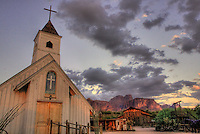 "This church in Apache Junction Arizona was at Apacheland Movie Studios when the movie ""Charro"" with Elvis was filmed and I am told he filmed a scene from the movie in this church. There was a fire a few years ago at the old movie set, which by then was just a tourist trap and restaurant. Only thing left standing was this church. A group from the Goldfield Museum gathered funds to move it to this site by the new Superstition Mountain Museum. Yes, Elvis stayed in Apache Junction with the rest of the crew at the old Grand Hotel which is now gone."