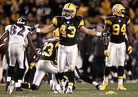 PITTSBURGH, PA - NOVEMBER 06: Troy Polamalu #43 of the Pittsburgh Steelers questions a penalty on the field against the Baltimore Ravens during the game on November 6, 2011 at Heinz Field in Pittsburgh, Pennsylvania.  (Photo by Jared Wickerham/Getty Images)