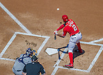 27 April 2014: Washington Nationals outfielder Denard Span in action against the San Diego Padres at Nationals Park in Washington, DC. The Padres defeated the Nationals 4-2 to to split their 4-game series. Mandatory Credit: Ed Wolfstein Photo *** RAW (NEF) Image File Available ***