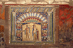 Ancient roman wall mosaic in Herculaneum made with a seashell border.