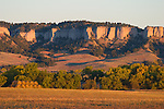 The early morning sun highlights the limestone cliffs in the Fort Robinson State Park, in the far northwest corner of Nebraska.