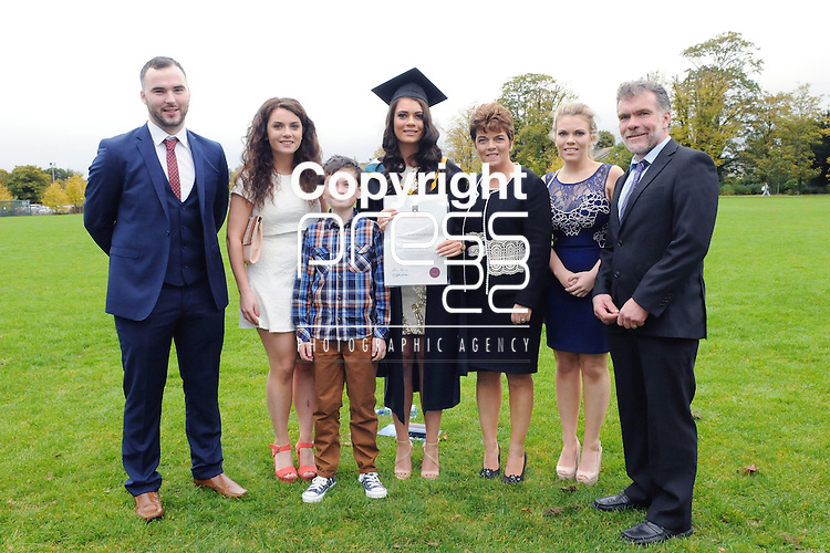 23/10/2015  Pictured at the recent Mary Immaculate College conferring ceremonies were (centre) Emer O' Brien, Tralee, Co. Kerry, who graduated with a MA in Education, with family Diarmuid Lee, Rachel, Austin, Tina, Hazel and Eric O' Brien. 625 students from 20 counties and 3 continents were conferred with academic awards across the College&rsquo;s 27 programmes including the College&rsquo;s 100th PhD award.<br /> Pic: Gareth Williams / Press 22