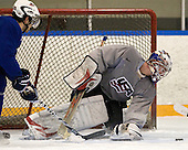 Jerry D'Amigo (USA - 29), Jack Campbell (USA - 1) - Team USA practiced at the Agriplace rink on Monday, December 28, 2009, in Saskatoon, Saskatchewan, during the 2010 World Juniors tournament.