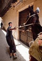 A man leads a donkey through the narrow streets of the medina, early in the morning, in Fes, Morocco