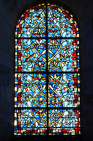 Stained Glass windows from the  Cathedral Basilica of Saint Denis ( Basilique Saint-Denis ) Paris, France. A UNESCO World Heritage Site.
